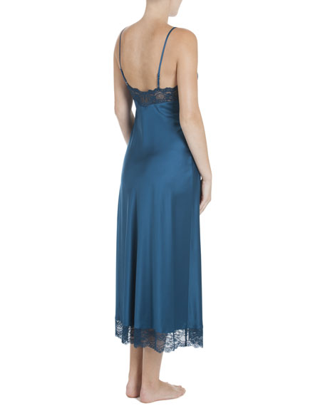 Peacock Lace-Trimmed Satin Gown, Blue