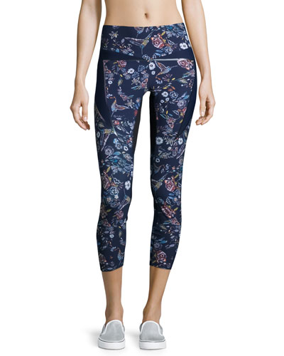 Inco Cropped Sport Leggings, Midnight Peru Print