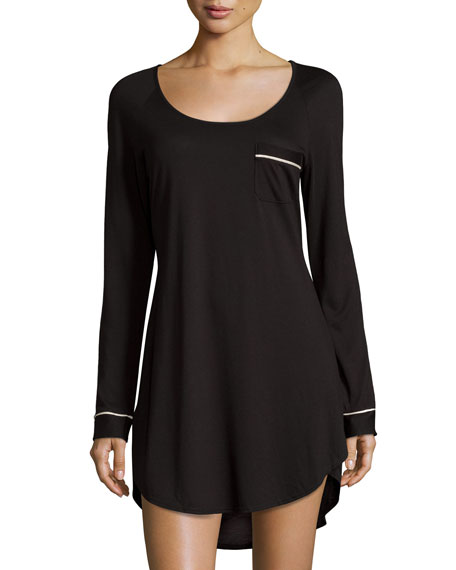 Bella Long-Sleeve Sleepshirt, Black/Ivory