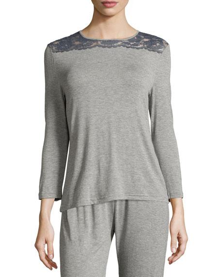 Nouveau 3/4-Sleeve Lounge Top, Heather Gray