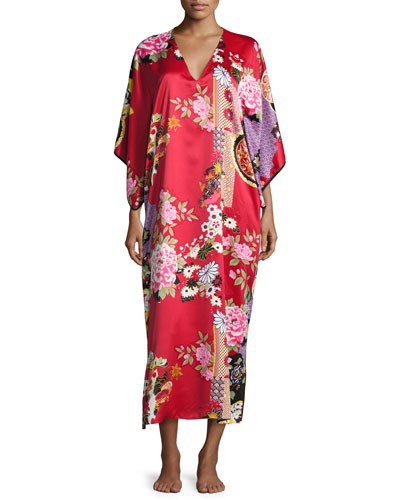 Mikado Floral-Print Lounge Caftan, Black/Russian Red