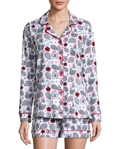 Printed Long-Sleeve Shortie Pajama Set, Holiday