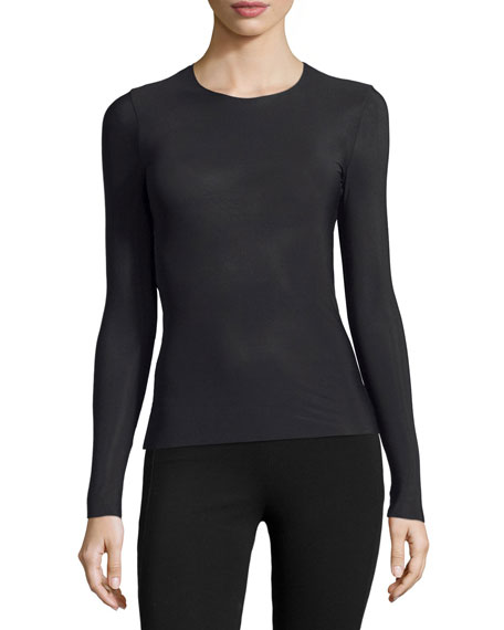 Commando Whisper Long-Sleeve Crewneck Layering Top, Black