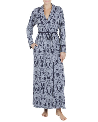 Stormy Skies Embroidered Robe, Slate Blue