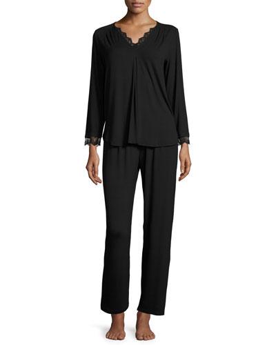 Luxe Jersey Two-Piece Pajama Set, Black