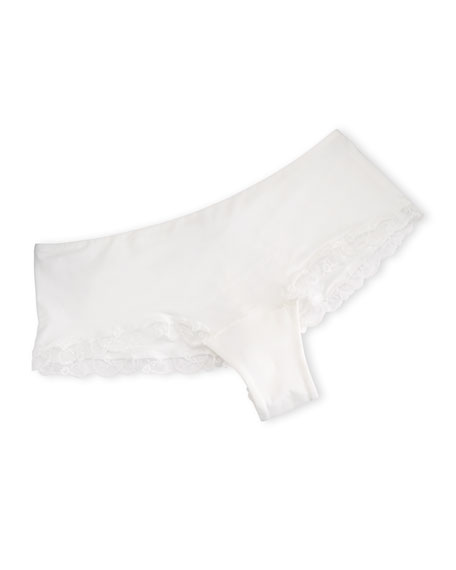 Liaison Lace-Trim Boyshort, White