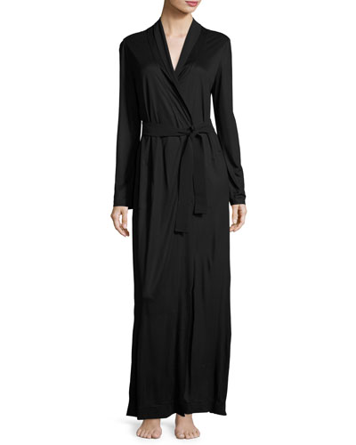 Charisma Silk-Blend Robe, Black