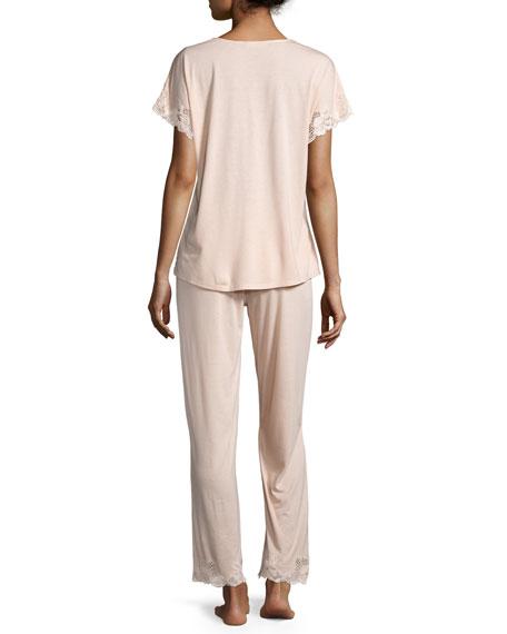 Zen Floral-Lace Short-Sleeve Pajama Set, Smoky Iris