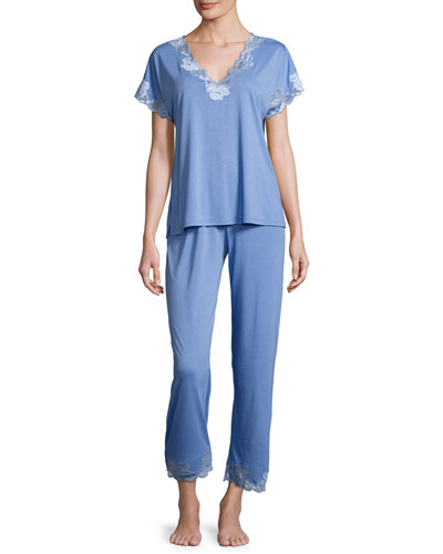 Zen Floral-Lace Short-Sleeve Pajama Set, Smoky Iris