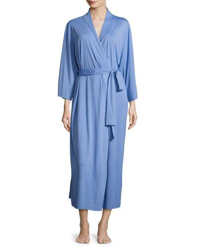 Shangri-La Long Jersey Robe, Smoky Iris