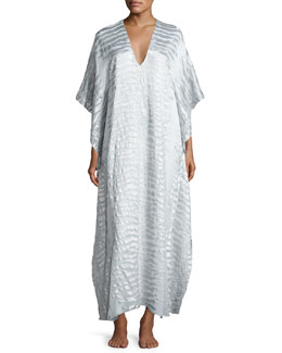Silk-Blend Tiger-Print Boubou/Caftan, White