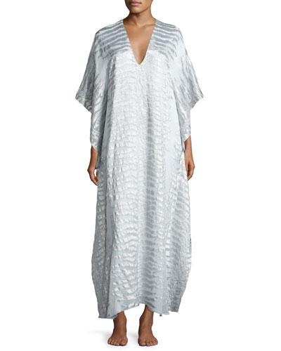 Silk-Blend Tiger-Print Boubou/Caftan, White