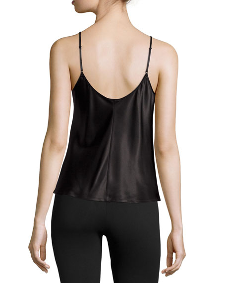 Silk Scoop-Neck Lounge Tank, Black
