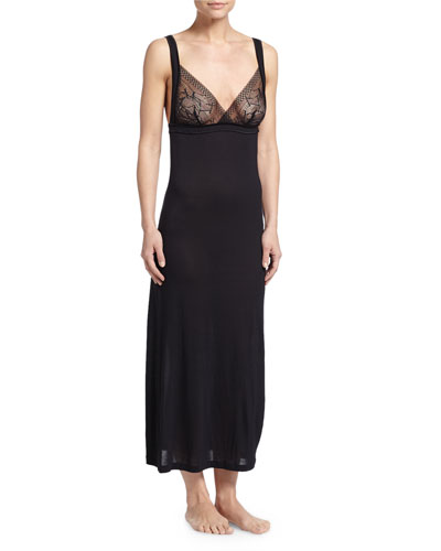 Myrta Lace-Front Long Nightgown
