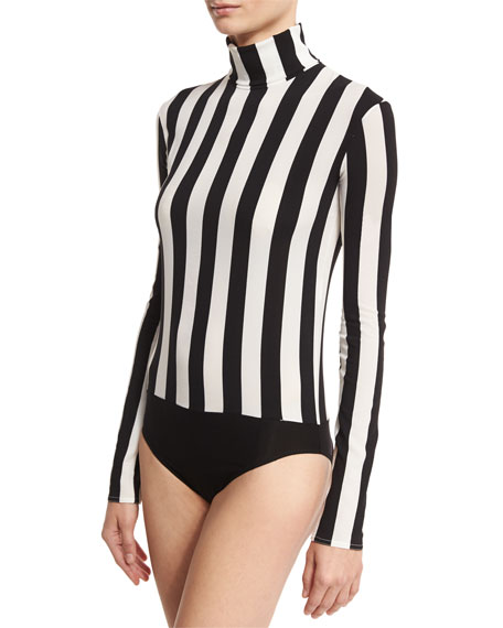 Striped Turtleneck Bodysuit, Black/White