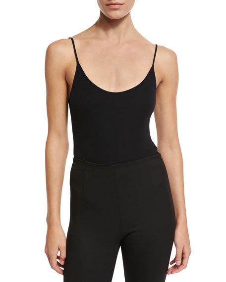Sleeveless Ribbed Cami Bodysuit, Black