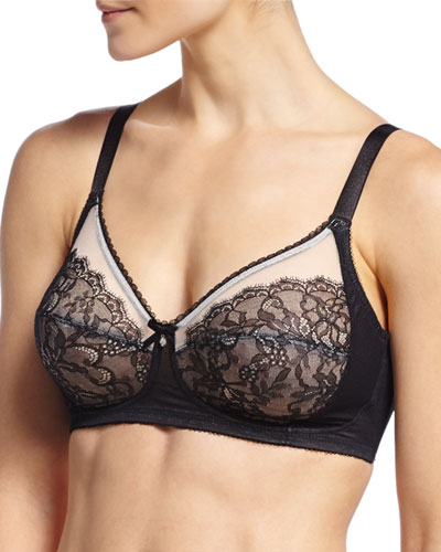 Retro Chic Wire-Free Soft-Cup Bra, Black
