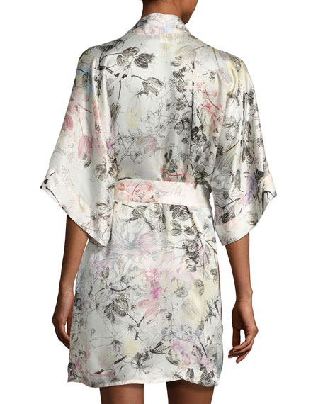 Juliet Silk Short Robe, Multi Pattern