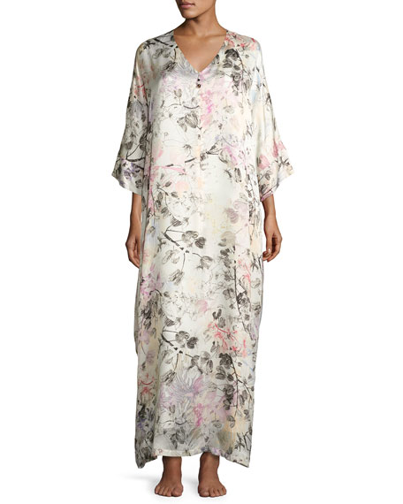 Christine Designs Juliet Floral-Print Silk Lounge Caftan, Multi