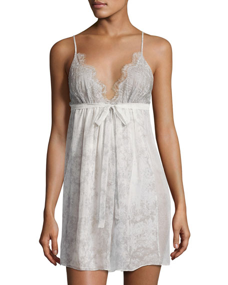Christine Designs Midsummer Lace-Trim Printed Chemise, Multi