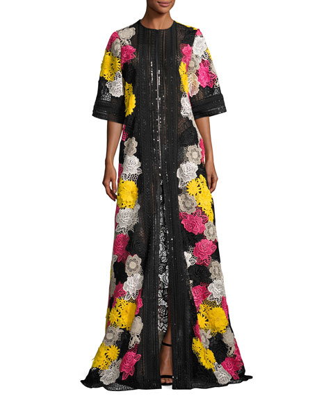 Half-Sleeve Lace-Embroidered Caftan Coat
