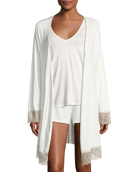 Bacall Long-Sleeve Robe, Ivory