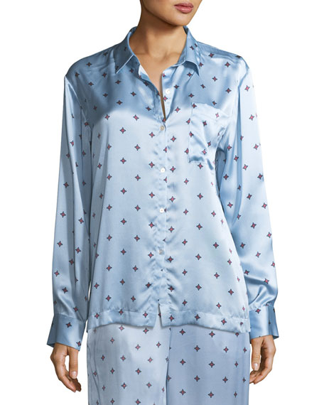 Sky Star Silk-Satin Pajama Top