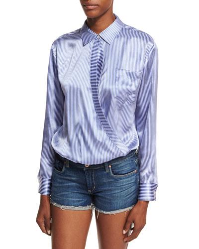 Long-Sleeve Wrap-Front Menswear Striped-Print Bodysuit