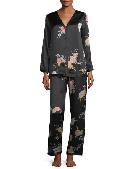 Midnight Garden Silk Pajama Set