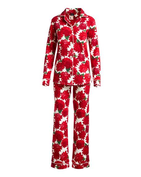 Dahlia Poinsettia-Print Long-Sleeve Pajama Set