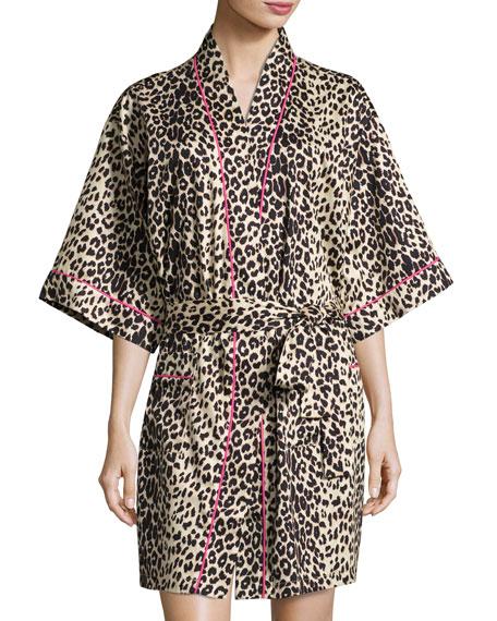 Wild Thing Short Kimono Robe, Leopard