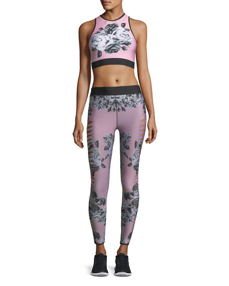Altitude High-Neck Floral-Print Crop Sports Bra