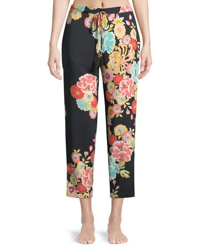 Saipan Floral-Print Silk Lounge Pants