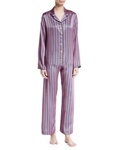 Brindisi Striped Silk Pajama Set