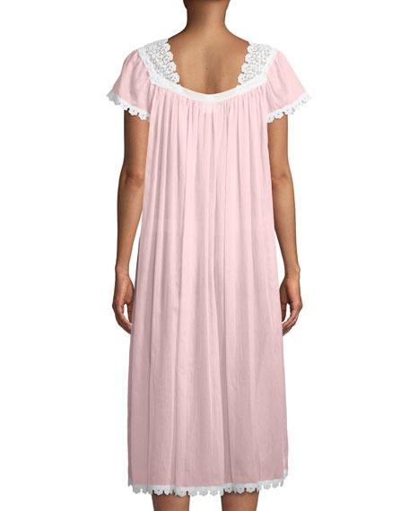 Donata Short-Sleeve Long Nightgown