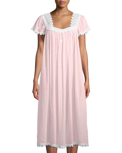 Donata Short-Sleeve Long Nightgown