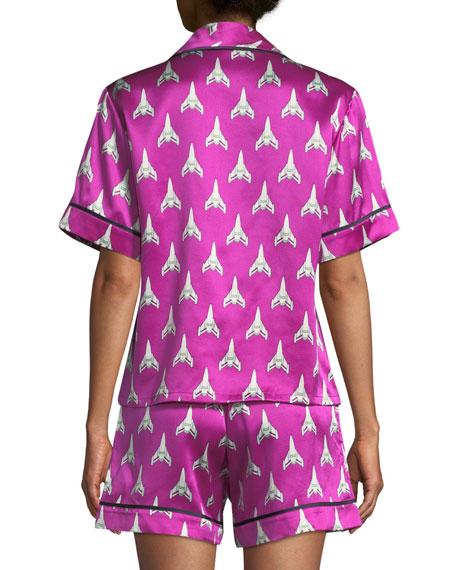 Olivia Von Halle Millicent Marty Silk Shorty Pajama Set 361dc7576