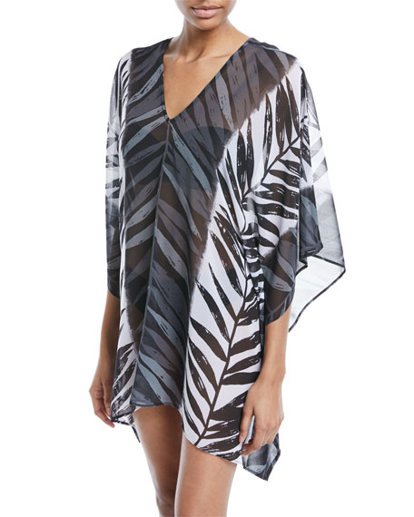 Leaf-Print Sheer Caftan Coverup