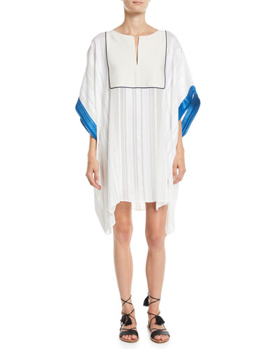 Slit-Neck Textured Silk Caftan w/ Embroidery