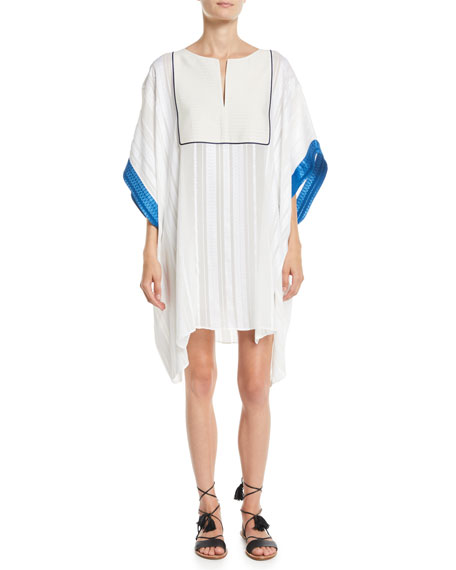 ZEUS AND DIONE Slit-Neck Textured Silk Caftan W/ Embroidery in Ivory