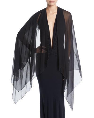 Sleeveless V-Neck Plunge Bodysuit w/ Chiffon Scarf