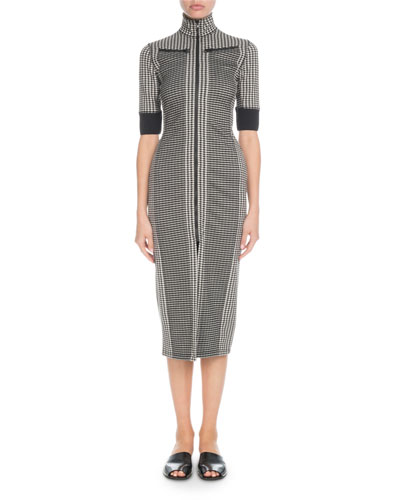 Fitted Check 3/4-Sleeve Zip-front Dress