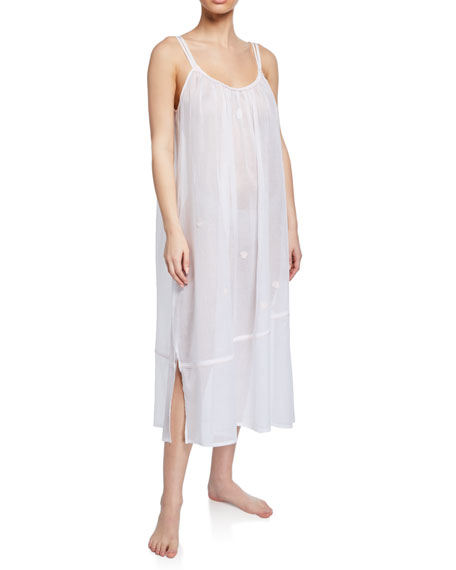 Saphira Sleeveless Scoop-Neck Long Cotton Nightgown
