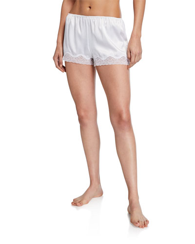 Lace-Trim Satin Bridal Shorts
