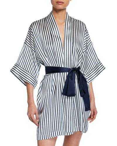 Piped Short Silk Kimono Robe