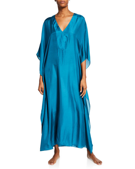 Image 1 of 1: Long Placket Silk Caftan, Teal