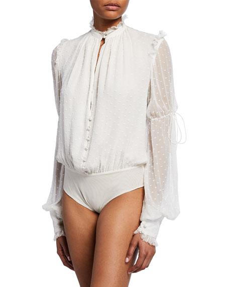 Embroidered Silk Chiffon Bodysuit
