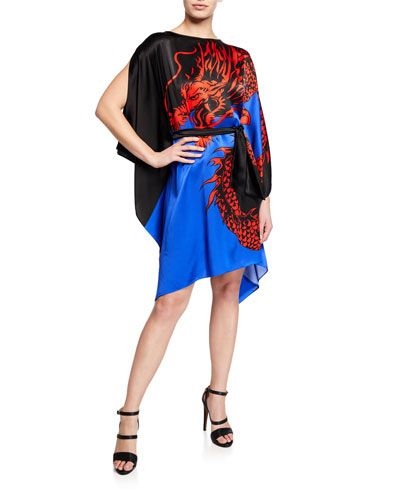 Boat-Neck Dragon-Print Silk Kaftan