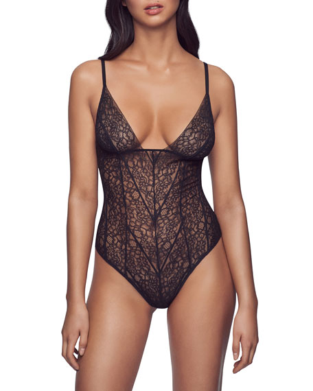 Image 1 of 1: Stretch-Lace Soft Bodysuit