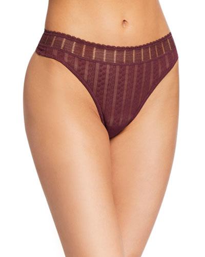 Lolita Stripe-Weave Mesh Thong